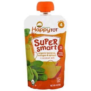Nurture Inc. (Happy Baby), Happy Tot, Stage 4, Super Smart, Fruit and Veggie Blend,  Organic Bananas, Mangos & Spinach, Coconut Milk, 4 oz (113 g)