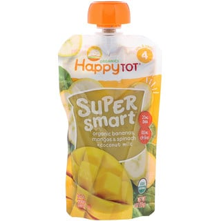 Happy Family Organics, Happy Tot, Super Smart, Fruit & Veggie Blend, Stage 4, Organic Bananas, Mangos & Spinach + Coconut Milk, 4 oz (113 g)