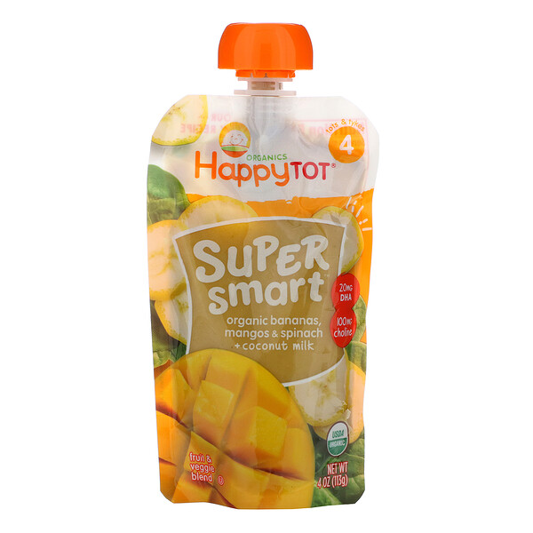 Happy Tot, Super Smart, Fruit & Veggie Blend, Stage 4, Organic Bananas, Mangos & Spinach + Coconut Milk, 4 oz (113 g)