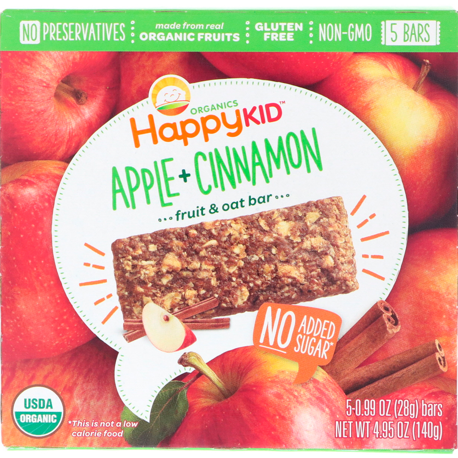 3fd31108389 Happy Family Organics, Happy Kid, Apple + Cinnamon, Fruit & Oat Bar, 5  Bars, 0.99 oz (28 g) Each