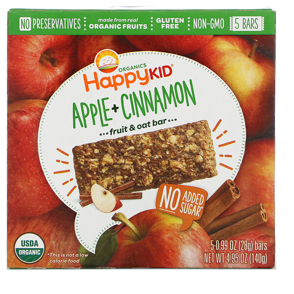 Happy Kid, Apple + Cinnamon, Fruit & Oat Bar, 5 Bars, 0.99 oz (28 g) Each