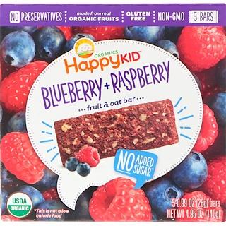 Nurture Inc. (Happy Baby), Happy Kid, Blueberry + Raspberry, Fruit & Oat Bar, 5 Bars, 0.99 oz (28 g) Each
