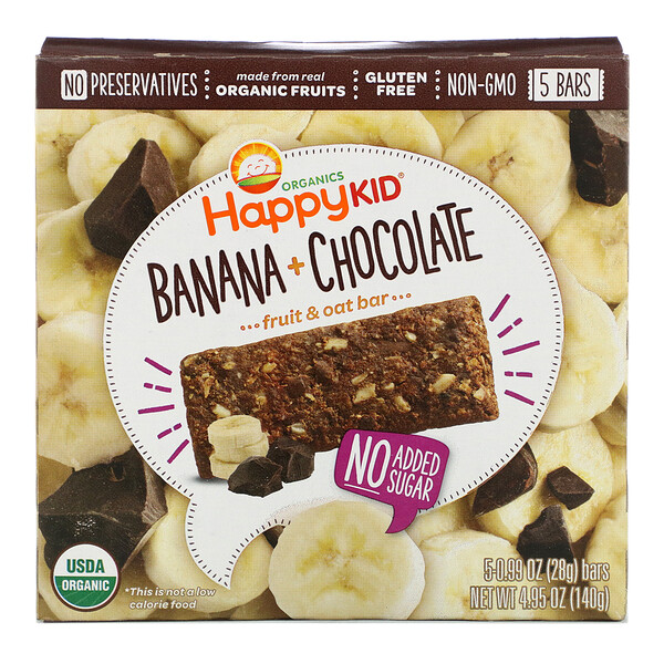 Happy Kid, Banana + Chocolate, Fruit & Oat Bar, 5 Bars, 0.99 oz (28 g) Each