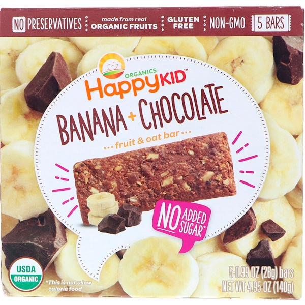 Happy Family Organics, Happy Kid, Banana + Chocolate, Fruit & Oat Bar, 5 Bars, 0.99 oz (28 g) Each