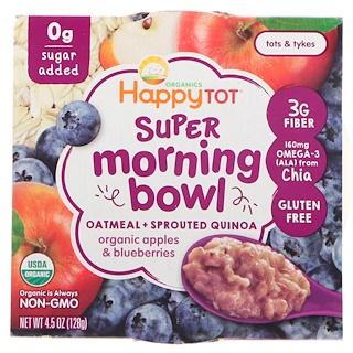 Happy Family Organics, Pequeñín feliz, súper tazón de la mañana, avena + quinua germinada, manzanas orgánicas y arándanos, 4.5 oz (128 g)