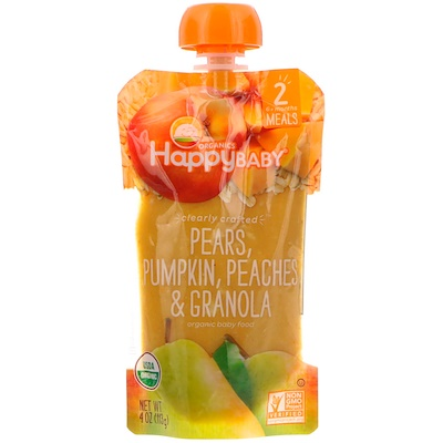 Купить Happy Family Organics Organic Baby Food, Stage 2, Clearly Crafted 6+ Months, Pears, Pumpkin, Peaches & Granola, 4 oz (113 g)