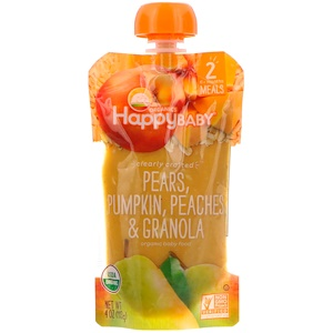 Нэйчэ Инк (Хэппи Бэби), Organic Baby Food, Stage 2, Clearly Crafted   6+ Months, Pears, Pumpkin, Peaches & Granola, 4 oz (113 g) отзывы покупателей