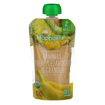 Купить Happy Family Organics Organic Baby Food, Stage 2, Clearly Crafted, 6+, Bananas, Pineapple, Avocado & Granola, 4 oz (113 g)