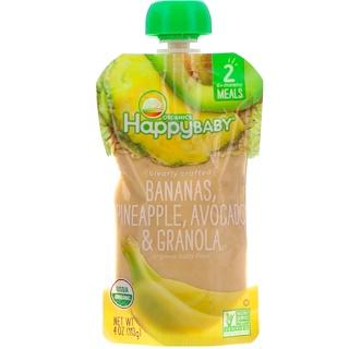 Happy Family Organics, Comida orgánica para bebé, Fase 2, elaborada con transparencia, bananas, piña, aguacate y granola, de 6 meses a más, 4 oz (113 g)