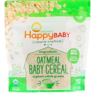 Nurture Inc. (Happy Baby), Organic, Clearly Crafted, Oatmeal Baby Cereal, 7 oz (198 g)