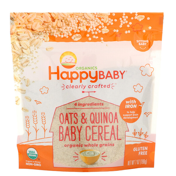 Happy Family Organics,  Cereal de Aveia e Quinoa da Clearly Crafted para Bebê, 198 g (7 oz)