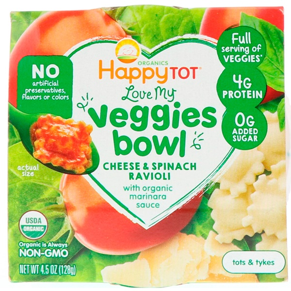 Happy Family Organics, Organics Happy Tot, Love My Veggies Bowl, Cheese & Spinach Ravioli, 4.5 oz (128 g) (Discontinued Item)