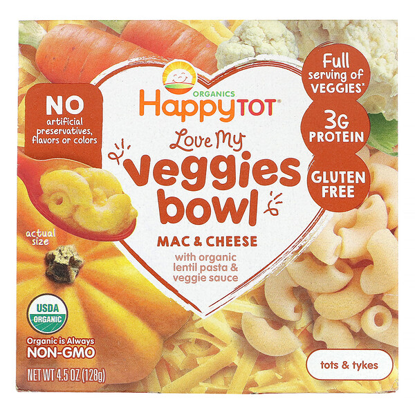 Happy Family Organics, Organics Happy Tot, Love My Veggies Bowl, Mac & Cheese, 4.5 oz (128 g)