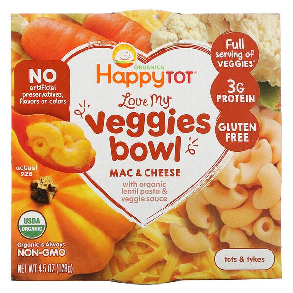 Happy Tot orgánicos, bol de vegetales deliciosos, macarrones con queso, 128g (4,5oz)