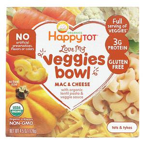 Happy Family Organics, Organics Happy Tot, Tigela de Vegetais Deliciosos, Macarrão com Queijo, 4,5 oz (128 g)