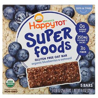 Happy Family Organics, Organics Happy Tot, Superfoods, Gluten Free Oat Bar, Organic Blueberries & Oatmeal, 5 Bars, 0.88 oz (25 g) Each