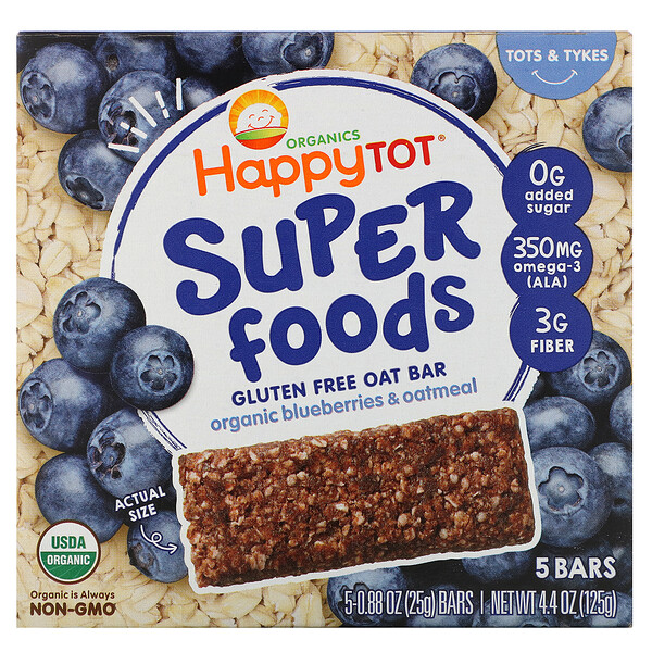 Organics Happy Tot, Superfoods, Gluten Free Oat Bar, Organic Blueberries & Oatmeal, 5 Bars, 0.88 oz (25 g) Each