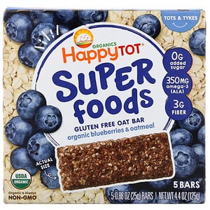 Happy Family Organics, Organics Happy Tot, Superfoods, Gluten Free Oat Bar, Organic Blueberries & Oatmeal, 5 Bars, 0.88 oz (25 g) Each'
