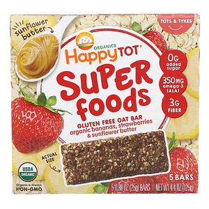 Happy Family Organics, Organics Happy Tot, Superfoods, Gluten Free Oat Bar, Organic Bananas, Strawberries & Sunflower Butter,  5 Bars, 0.88 oz (25 g) Each