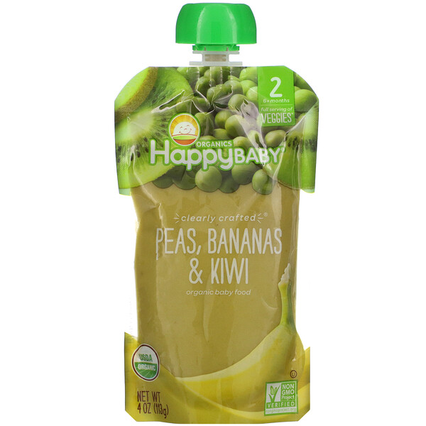 Happy Baby, Organic Baby Food, Stage 2, 6+ Months, Peas, Bananas & Kiwi,  4 oz (113 g)