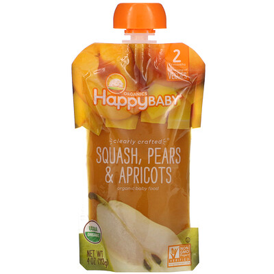 Happy Family Organics Happy Baby, Organic Baby Food, Stage 2, 6 + Months, Squash, Pears & Apricots, 4 oz (113 g)