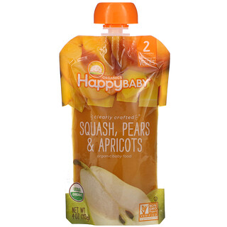 Happy Family Organics, Happy Baby, Organic Baby Food, Stage 2, 6 + Months,  Squash, Pears & Apricots, 4 oz (113 g)