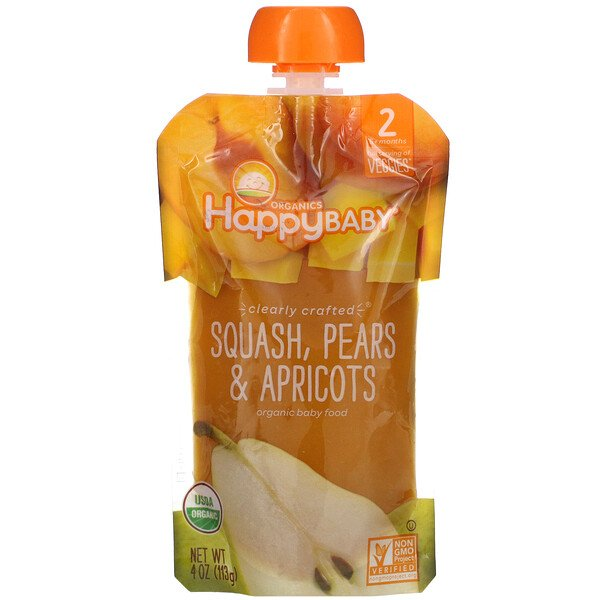Happy Baby, Organic Baby Food, Stage 2, 6 + Months,  Squash, Pears & Apricots, 4 oz (113 g)