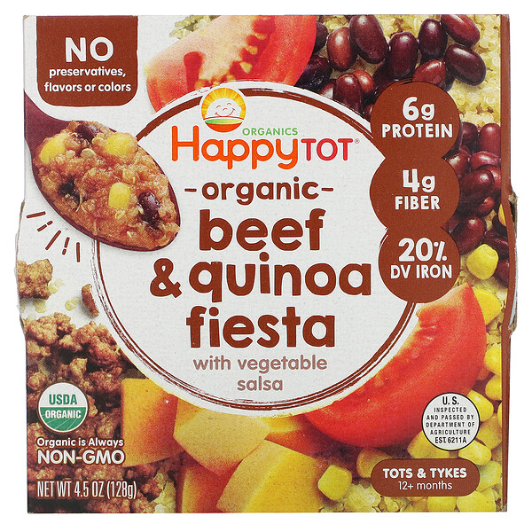 Happy Family Organics, Happy Tot, 12+ Months, Organic Beef & Quinoa Fiesta with Vegetable Salsa,  4.5 oz (128 g)