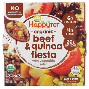 Нэйчэ Инк (Хэппи Бэби), Happy Tot, 12+ Months, Organic Beef & Quinoa Fiesta with Vegetable Salsa,  4.5 oz (128 g) отзывы