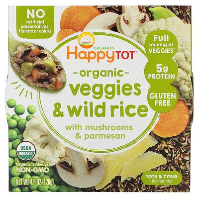 Купить Happy Family Organics Happy Tot, 12+ Months, Organic Veggies & Wild Rice with Mushrooms & Parmesan, 4.5 oz (128 g)