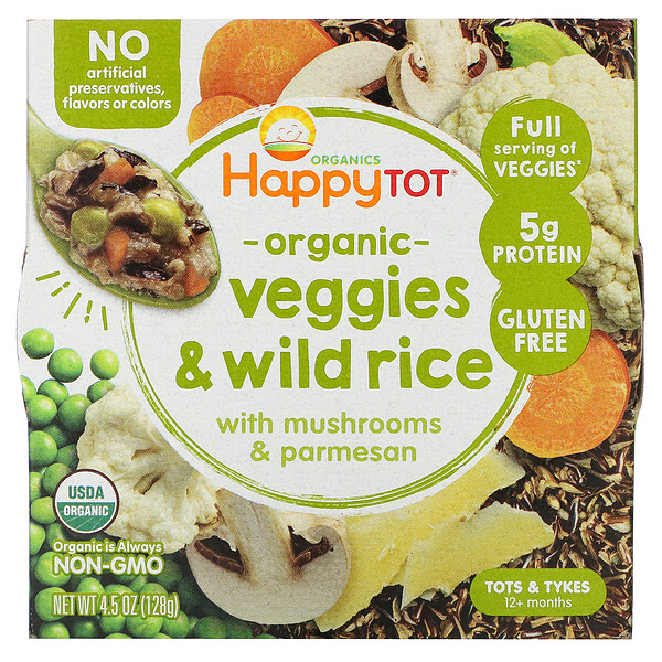 Happy Tot, 12+ Months, Organic Veggies & Wild Rice with Mushrooms & Parmesan,  4.5 oz (128 g)
