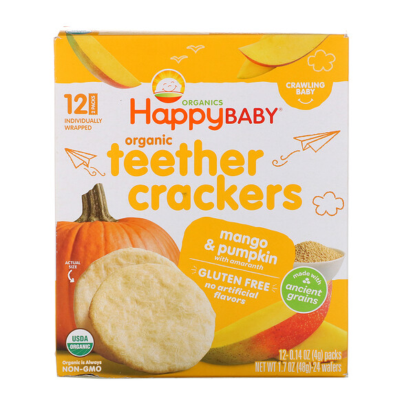 Organic Teether Crackers, Mango & Pumpkin with Amaranth, 12 Packs, 0.14 oz (4 g) Each