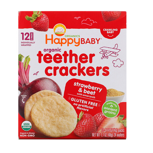 Organic Teether Crackers, Strawberry & Beet with Amaranth, 12 Packs, 0.14 oz (4 g) Each