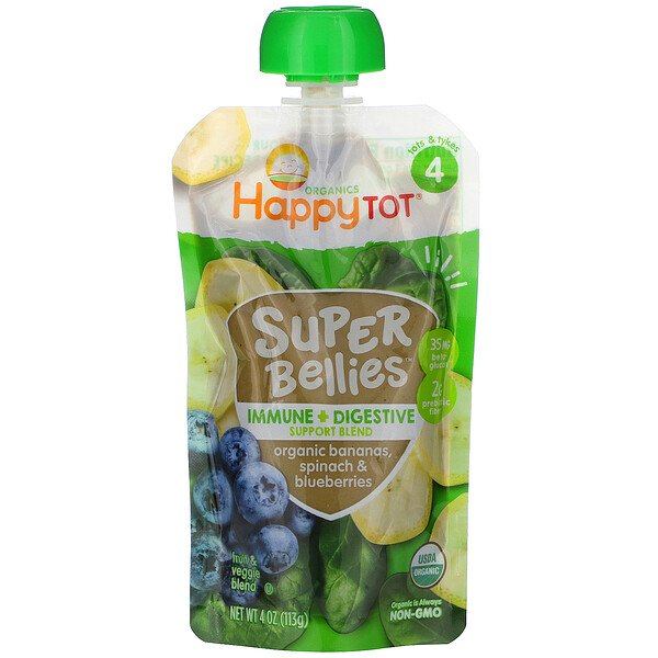 Happy Tot, Super Bellies, Organic Bananas, Spinach & Blueberries, 4 oz (113 g)