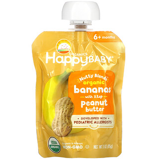 Happy Family Organics, Happy Baby, Nutty Blends, 6+ Months, Organic Bananas with 1/2 tsp Peanut Butter, 3 oz (85 g)