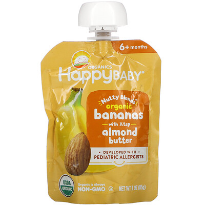 Купить Happy Family Organics Happy Baby, Nutty Blends, 6+ Months, Organic Bananas with 1/2 tsp Almond Butter, 3 oz (85 g)