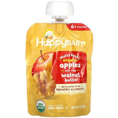 Купить Happy Family Organics Happy Baby, Nutty Blends, 6+ Months, Organic, Apples with 1 tsp Walnut Butter, 3 oz (85 g)