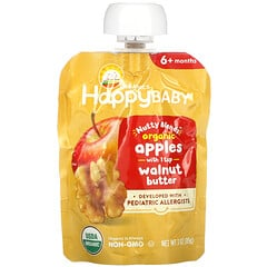 Happy Family Organics, Happy Baby,  Nutty Blends, 6+ Months, Organic, Apples with 1 tsp Walnut Butter, 3 oz (85 g)