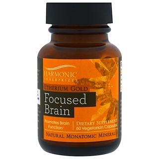 Harmonic Innerprizes, Etherium Gold, Focused Brain, 60 Vegetarian Capsules