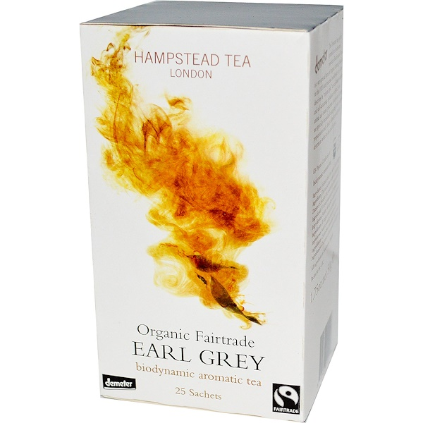 Hampstead Tea, Organic Fairtrade Earl Grey, 25 Sachets, 1.75 oz (50 g) (Discontinued Item)