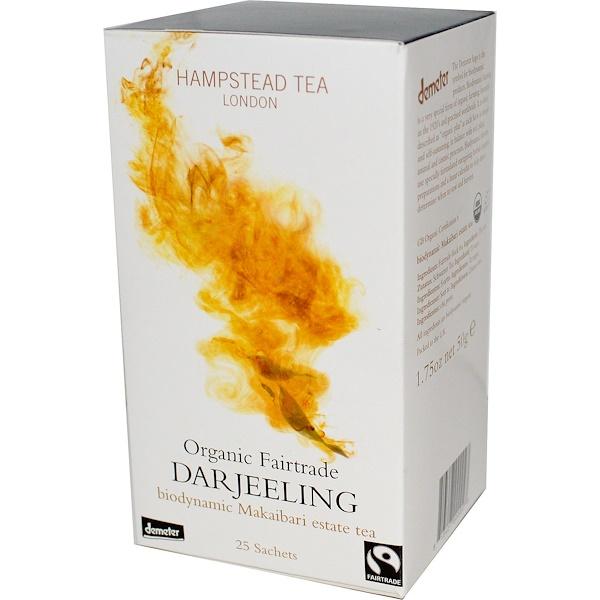 Hampstead Tea, Organic Fairtrade Darjeeling, 25 Sachets, 1.75 oz (50 g) (Discontinued Item)