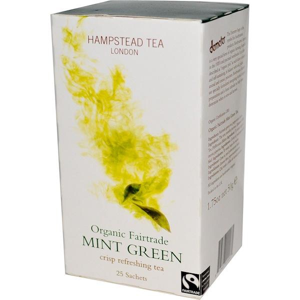 Hampstead Tea, Mint Green, Organic Fairtrade, 25 Sachets, 1.75 oz (50 g) (Discontinued Item)