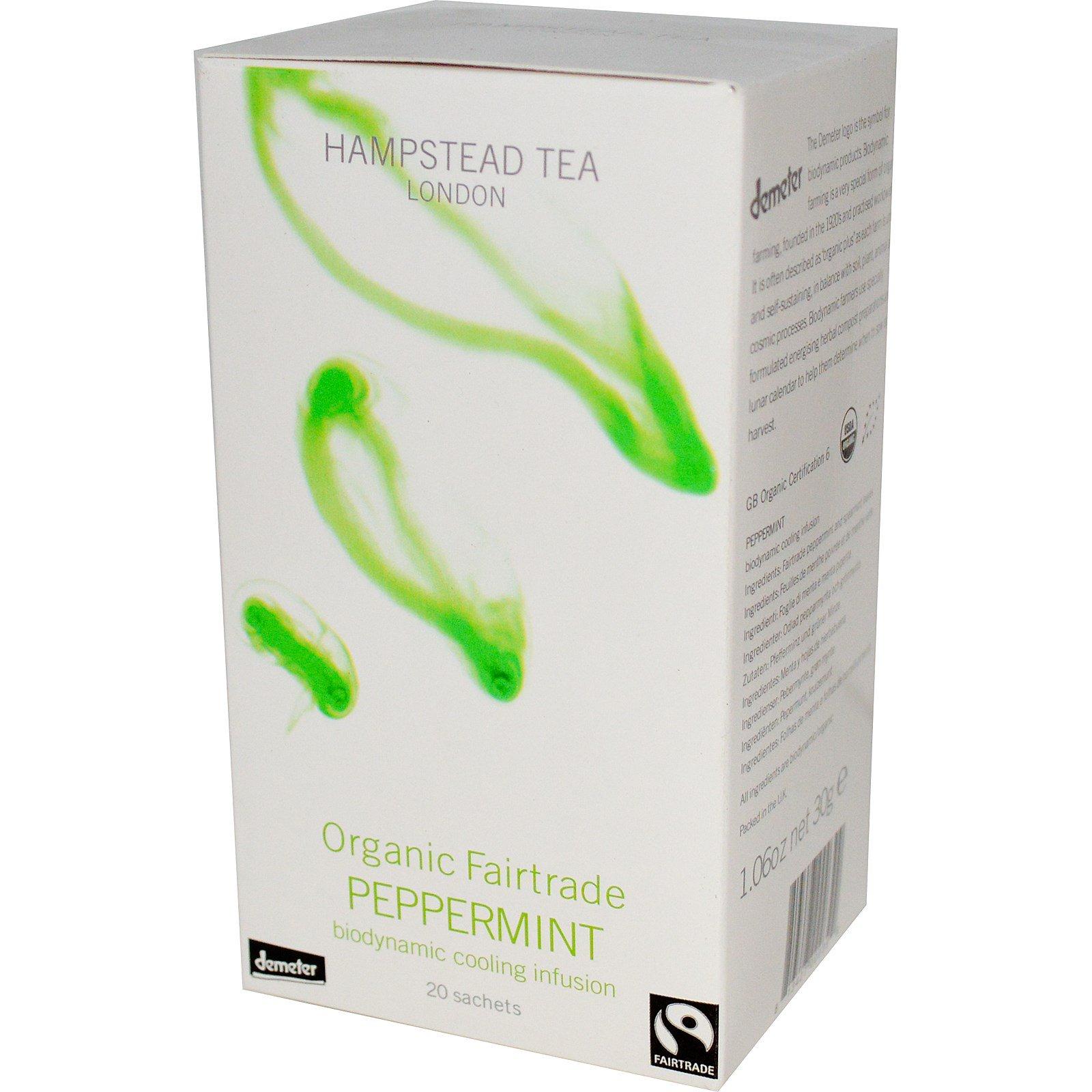 Hampstead Tea, Органическая перечная мята, изготовленная по правилам честной торговли, 20 пакетиков, 30 г