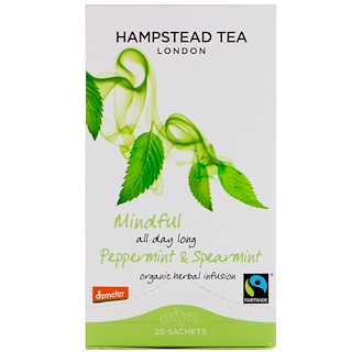 Hampstead Tea, Organic, Peppermint & Spearmint, 20 Sachets, 1.06 oz (30 g)