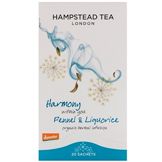 Hampstead Tea, Organic  Fennel & Liquorice, 20 Sachets,1.06 oz (30 g)
