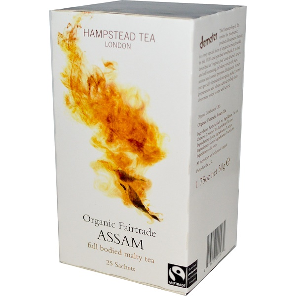 Hampstead Tea, Organic Fairtrade, Assam, Malty Tea, 25 Sachets, 1.75 oz (50 g) (Discontinued Item)