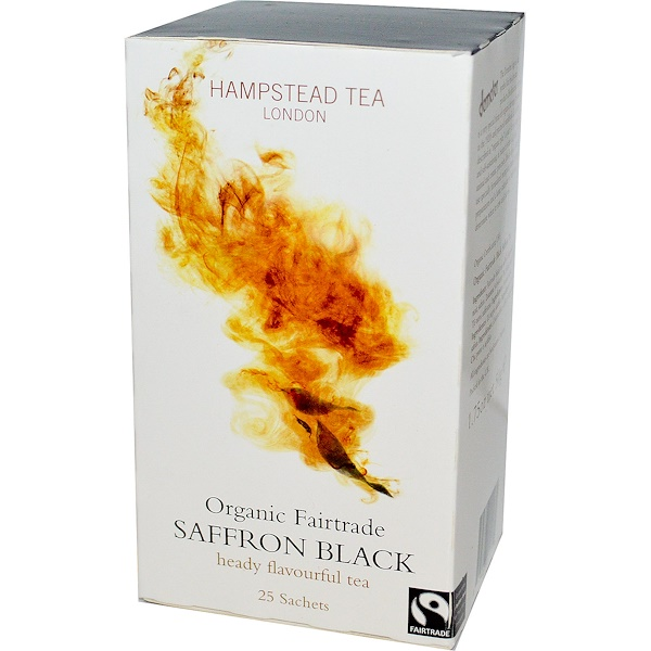 Hampstead Tea, Organic Fairtrade Saffron Black, 25 Sachets, 1.75 oz (50 g) (Discontinued Item)