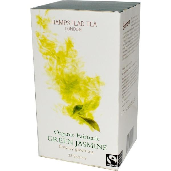 Hampstead Tea, Organic Fairtrade, Green Jasmine, 25 Sachets, 1.75 oz (50 g) (Discontinued Item)