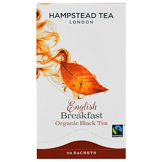 Hampstead Tea, Organic Black Tea, English Breakfast, 20 Sachets, 1.41 oz (40 g)