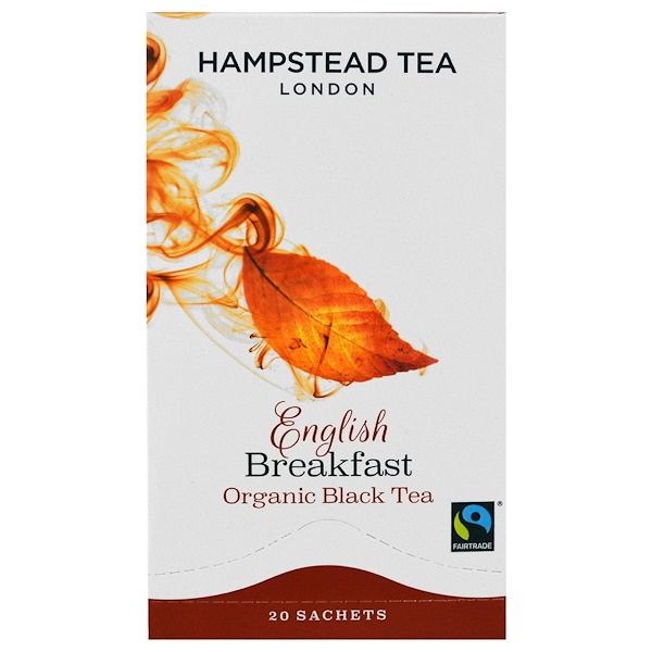 Hampstead Tea, Organic Black Tea, English Breakfast, 20 Sachets, 1.41 oz (40 g) (Discontinued Item)